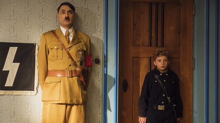 Taika Waititi (Adolf) and Roman Griffin Davis (Jojo) star in Waititi's new film Jojo Rabbit.