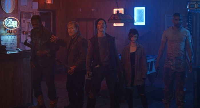 "The vets of VFW get ready for a showdown with Boz and his crew.  F L to R: Fred WIlliamson (Abe), William Sadler (Walter), Stephen Lang (Fred), Sierra McCOrmick (Lizard), and Tom WIlliamson (Shawn ""Dead Eye"" Mason)"